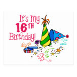 It's My 16th Birthday (Party Hats) Post Cards