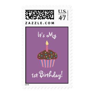 It's My 1st Birthday Chocolate Cupcake (pink) Postage