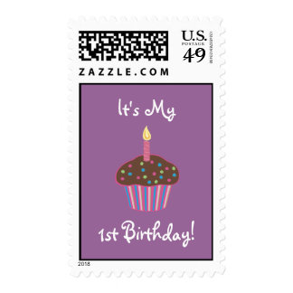 It's My 1st Birthday Chocolate Cupcake (pink) Stamp