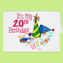 It's My 20th Birthday (Party Hats) Card