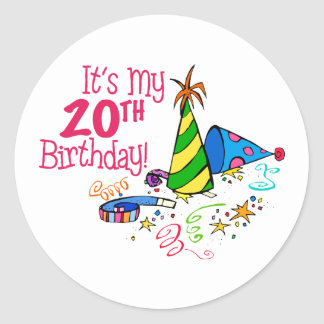 It's My 20th Birthday (Party Hats) Classic Round Sticker