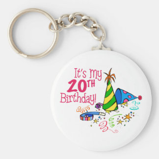It's My 20th Birthday (Party Hats) Keychain