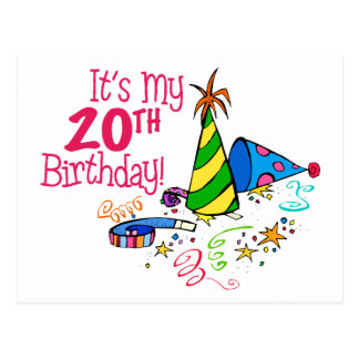 It's My 20th Birthday (Party Hats) Post Card
