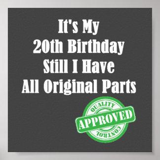 It's My 20th Birthday Poster