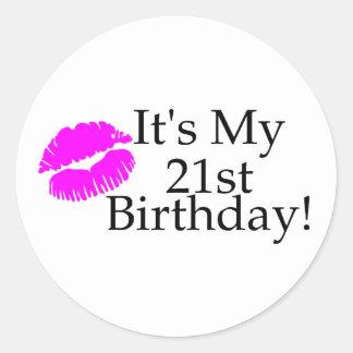 Its My 21st Birthday (Kiss) Classic Round Sticker