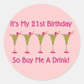 It's My 21st Birthday Round Sticker