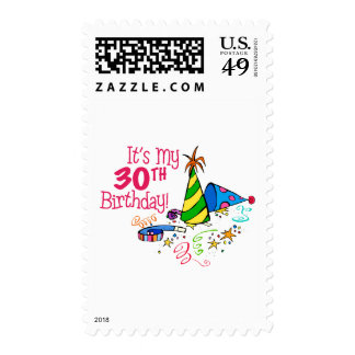 It's My 30th Birthday (Party Hats) Postage Stamp