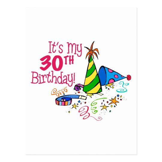 It's My 30th Birthday (Party Hats) Postcard
