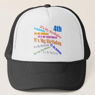 It's My 4th Birthday Gifts Trucker Hat