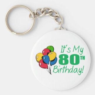 It's My 80th Birthday (Balloons) Keychain