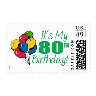 It's My 80th Birthday (Balloons) Postage Stamp