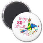 It's My 80th Birthday (Party Hats) 2 Inch Round Magnet