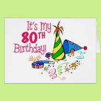 It's My 80th Birthday (Party Hats) Card