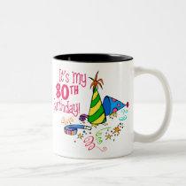 It's My 80th Birthday (Party Hats) Two-Tone Coffee Mug