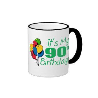 It's My 90th Birthday (Balloons) Ringer Coffee Mug