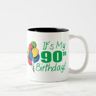 It's My 90th Birthday (Balloons) Two-Tone Coffee Mug