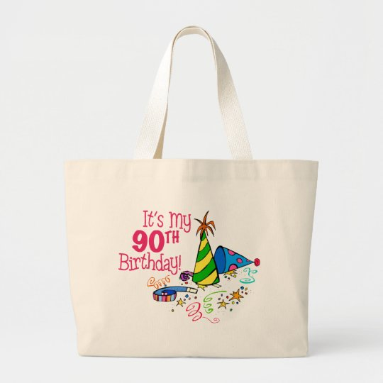 It's My 90th Birthday (Party Hats) Large Tote Bag