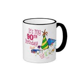 It's My 90th Birthday (Party Hats) Ringer Coffee Mug