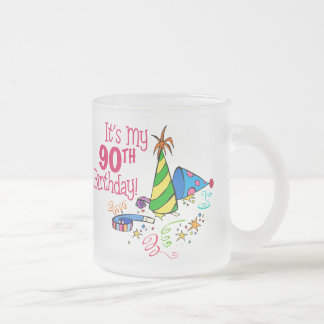 It's My 90th Birthday (Party Hats) 10 Oz Frosted Glass Coffee Mug