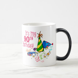 It's My 90th Birthday (Party Hats) 11 Oz Magic Heat Color-Changing Coffee Mug