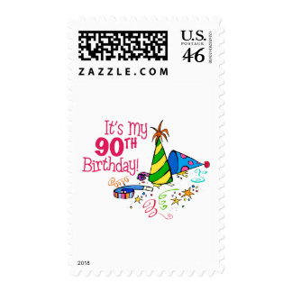 It's My 90th Birthday (Party Hats) Postage Stamp