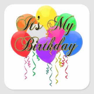 It's My Birthday Balloons Square Sticker