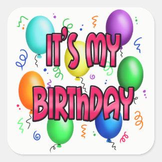 It's my Birthday cool party baloons konfeti Square Sticker