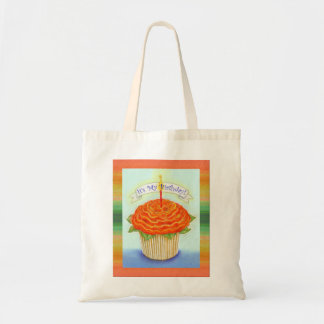 It's My Birthday Flower Cupcake with Candle Canvas Bags
