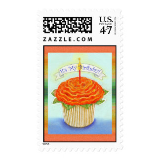 It's My Birthday Flower Cupcake with Candle Postage Stamp