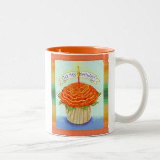 It's My Birthday Flower Cupcake with Candle Two-Tone Coffee Mug