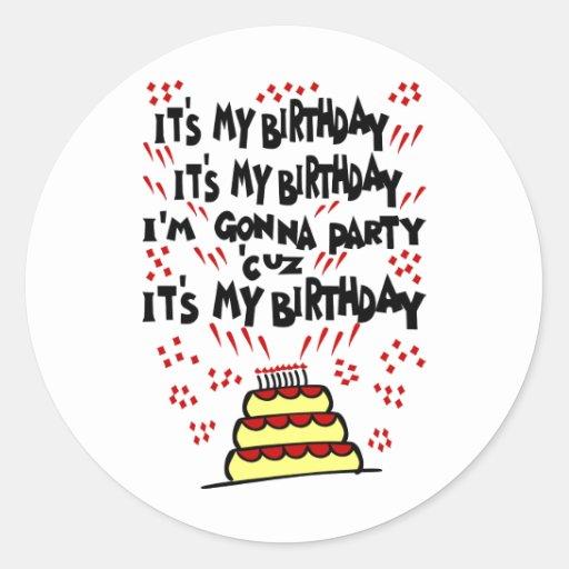 It's My Birthday, I'm Gonna Party With Funky Cake Classic Round Sticker
