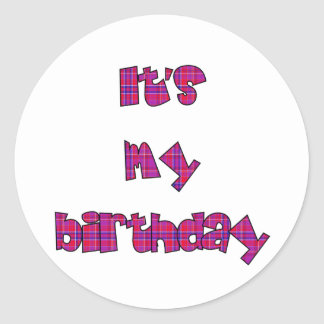 it's my birthday - plaid lettering round sticker