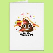 It's My Birthday Poop Emoji  kids Boy Girl Party Card