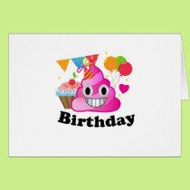 It's My Birthday Poop Emoji  kids Boy Party Card