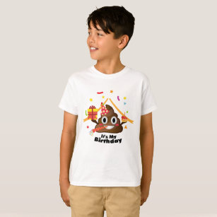 Its My Birthday Poop Emoji Kids Boy Party T Shirt