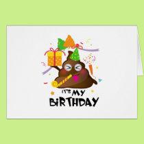 It's My Birthday Poop Emoji  kids Girl Party Card