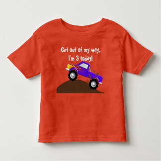It's My Birthday Purple Flames Monster Truck Toddler T-shirt