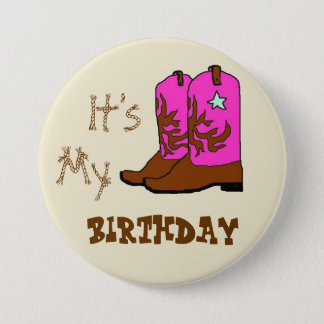 It's My Birthday Western Boots Buttons