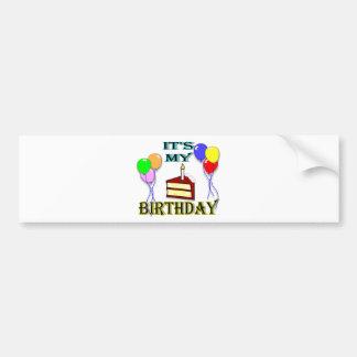 It's My Birthday with Cake Bumper Sticker Car Bumper Sticker