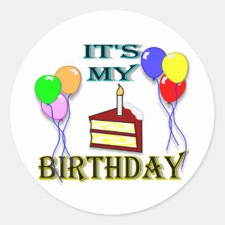 It's My Birthday with Cake Classic Round Sticker