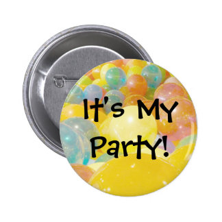 It's My Party Balloons Pinback Button