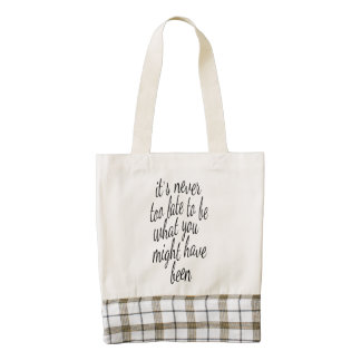 It's Never Too Late To Be What You Might Have Been Zazzle HEART Tote Bag
