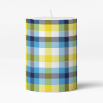 It's Not a Picnic without Rain Plaid Pillar Candle