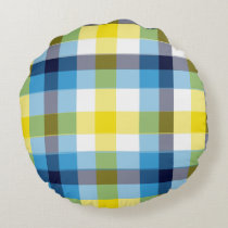 It's Not a Picnic without Rain Plaid Round Pillow