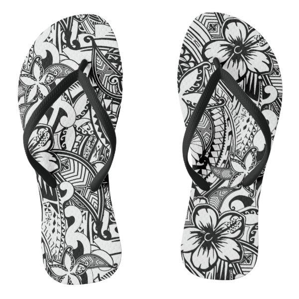80dd76129e00 Custom It s Not Always Black Or White Polynesian Tattoos Flip Flops