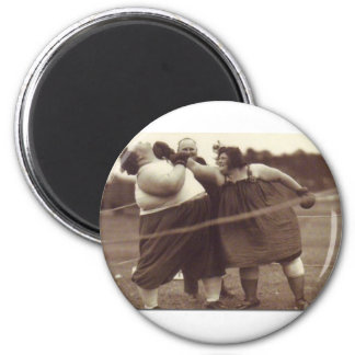 It's not over 'til the fat lady punches you! refrigerator magnet