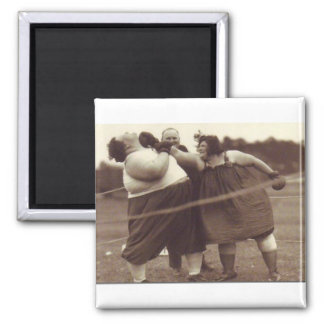 It's not over 'til the fat lady punches you! fridge magnet