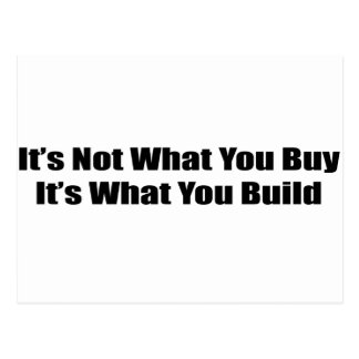 Its Not What You Buy Its What You Build Postcard