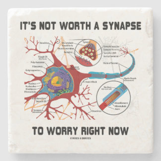 It's Not Worth A Synapse To Worry Right Now Humor Stone Coaster