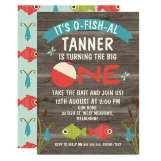 It's O-fish-al Fishing 1st Birthday Invitation